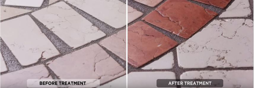 Demonstration of how a wet look sealer can enhance the colour of natural stone and tiles, with before on the left and after wet look treatment on the right of the image